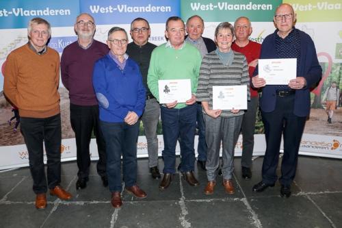 Nieuwjaarsbijeenkomst 2020 met Wandelsport Vlaanderen en viering Linda Boddin 1000 tochten, Eic Cuffez 20.000 km en Eric Wydooghe 20.000 km (wie helaas niet aanwezig kon zijn)