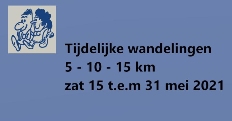 Tijdelijk uitgepijlde wandelparcours van 15 t.e.m 31 mei 2021