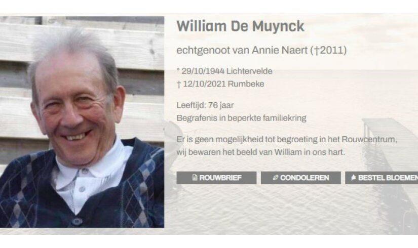 William De Muynck (29/10/1944-12/10/2021